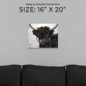 "NEW! ""Mabel"" (Grey Background) The Highland Cow Small Canvas Print"