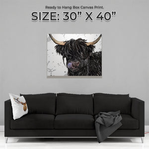 """Mabel"" (Grey Background) The Highland Cow Large Canvas Print - Andy Thomas Artworks"