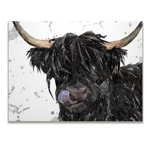 "NEW! ""Mabel"" (Grey Background) The Highland Cow Skinny Canvas Print"