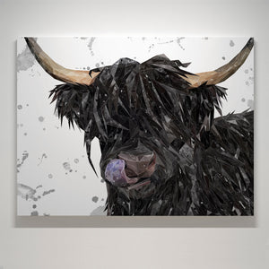 """Mabel"" (Grey Background) The Highland Cow Small Canvas Print - Andy Thomas Artworks"