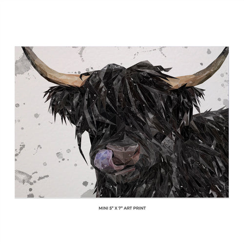 "NEW! ""Mabel"" (grey background) The Highland Cow 5x7 Mini Print"