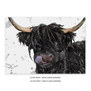 """Mabel"" (grey background) The Highland Cow A2 Unframed Art Print - Andy Thomas Artworks"