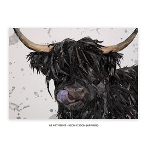 """Mabel"" (grey background) The Highland Cow A3 Unframed Art Print - Andy Thomas Artworks"
