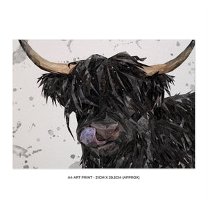 """Mabel"" (grey background) The Highland Cow A4 Unframed Art Print - Andy Thomas Artworks"