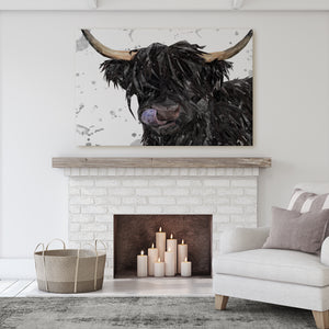 """Mabel"" (Grey Background) The Highland Cow Massive Canvas Print - Andy Thomas Artworks"