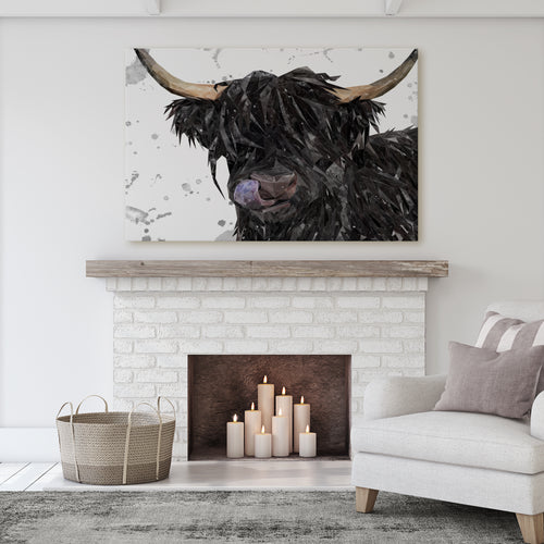 "NEW! ""Mabel"" (Grey Background) The Highland Cow Massive Canvas Print"
