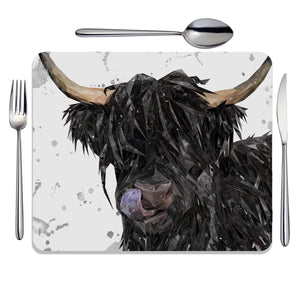 """Mabel"" (grey background) The Highland Cow Placemat - Andy Thomas Artworks"