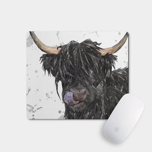 """Mabel"" (Grey Background) The Highland Cow Mousemat - Andy Thomas Artworks"