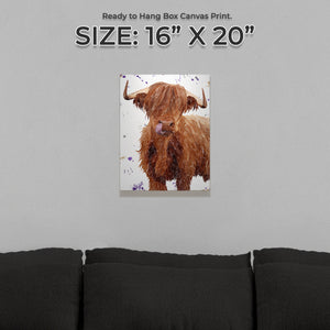 """Stephen Thomas"" The Highland Bull (Portrait) Small Canvas Print"