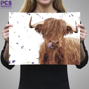 """Stephen Thomas"" The Highland Bull (landscape version) A1 Unframed Art Print"