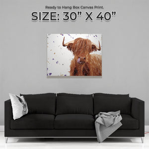 """Stephen Thomas"" The Highland Bull Large Canvas Print (landscape version)"
