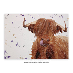 """Stephen Thomas"" The Highland Bull (landscape version) A3 Unframed Art Print - Andy Thomas Artworks"