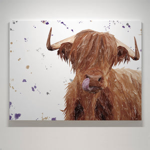 """Stephen Thomas"" The Highland Bull Medium Canvas Print (landscape version)"