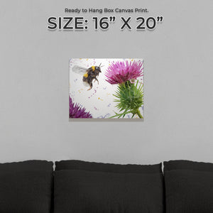 """Highland Honey"" The Bee and The Thistle Small Canvas Print - Andy Thomas Artworks"
