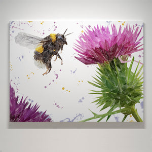 """Highland Honey"" The Bee and The Thistle Large Canvas Print - Andy Thomas Artworks"