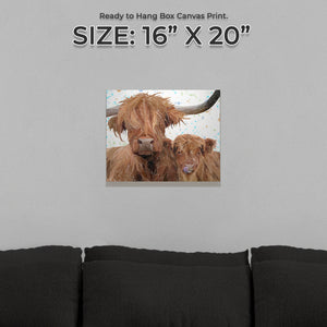 """A Mother's Love"" Highland Cow & Calf Small Canvas Print"