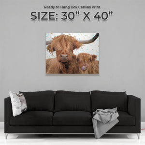 "NEW! ""A Mother's Love"" Highland Cow & Calf Large Canvas Print"