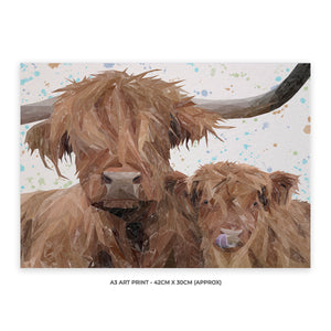 """A Mother's Love"" Highland Cow & Calf A3 Unframed Art Print"