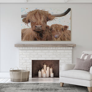 "NEW! ""A Mother's Love"" Highland Cow & Calf Massive Canvas Print"
