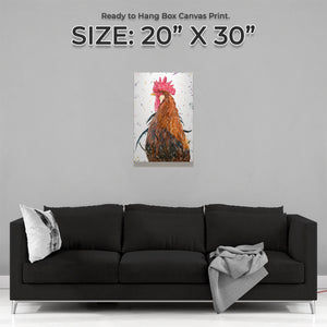 """Cooper"" The Cockerel Medium Canvas Print"