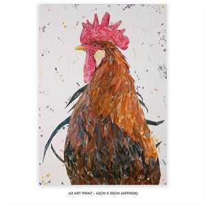 """Cooper"" The Cockerel A3 Unframed Art Print"