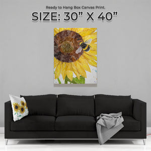 "NEW! ""Summer Nectar"" The Bee & The Sunflower Large Canvas Print"