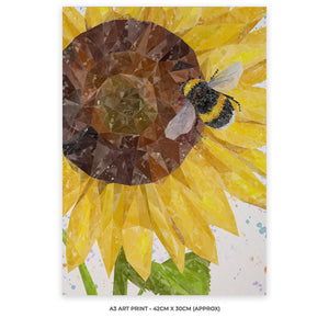 """Summer Nectar"" The Bee and The Sunflower A3 Unframed Art Print"