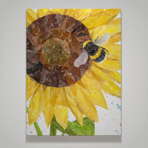 """Summer Nectar"" The Bee & The Sunflower Small Canvas Print"