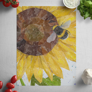 """Summer Nectar"" The Bee and The Sunflower Glass Worktop Saver"