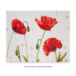 """Hope"" Poppies 10"" x 8"" Unframed Art Print"