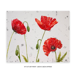 """Hope"" Poppies 10"" x 8"" Unframed Art Print (grey background)"