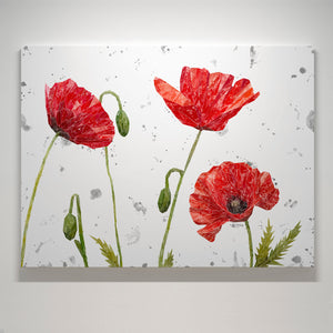 """Hope"" Poppies Medium Canvas Print (grey background)"