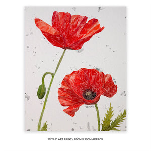 """Hope"" Poppies 10"" x 8"" Unframed Art Print Portrait (grey background)"