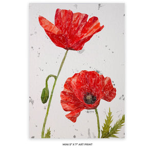 """Hope"" Poppies 5"" x 7"" Mini Print Portrait (grey background)"