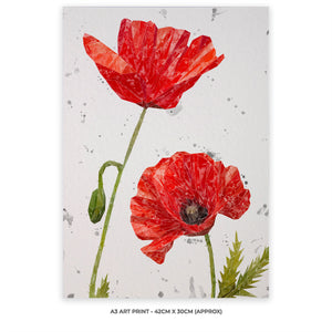 """Hope"" Poppies A3 Unframed Art Print Portrait (Grey Background)"