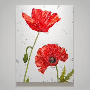 """Hope"" Poppies Medium Canvas Print Portrait (grey background)"