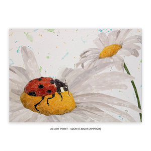 "NEW! ""Lady Daisy"" Ladybird and Daisies A3 Unframed Art Print"