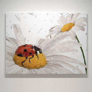 """Lady Daisy"" Ladybird and Daisies (grey background) Small Canvas Print"