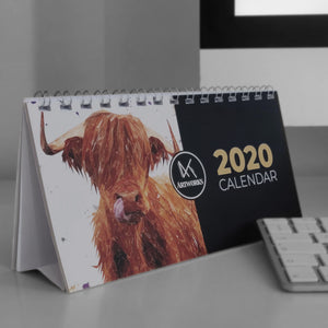 2020 Highland Cow Desktop Calendar - Andy Thomas Artworks