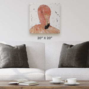 """Felicity"" The Flamingo (Grey Background) Square Canvas Print - Andy Thomas Artworks"