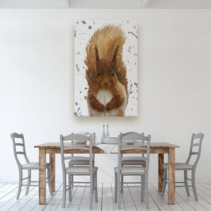 """Ellis"" The Red Squirrel (Grey Background) Massive Canvas Print - Andy Thomas Artworks"