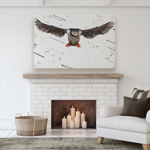 """Frank"" The Puffin (Grey Background) Massive Canvas Print - Andy Thomas Artworks"