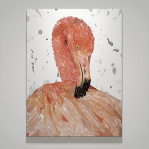 """Felicity"" The Flamingo (Grey Background) Small Canvas Print - Andy Thomas Artworks"