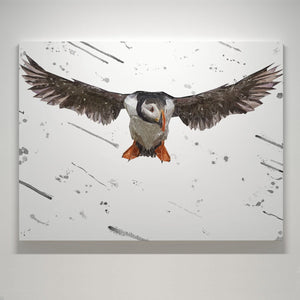 """Frank"" The Puffin (Grey Background) Small Canvas Print - Andy Thomas Artworks"
