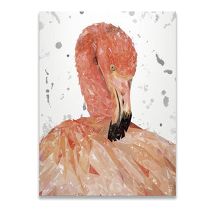 """Felicity"" The Flamingo (Grey Background) Skinny Canvas Print - Andy Thomas Artworks"