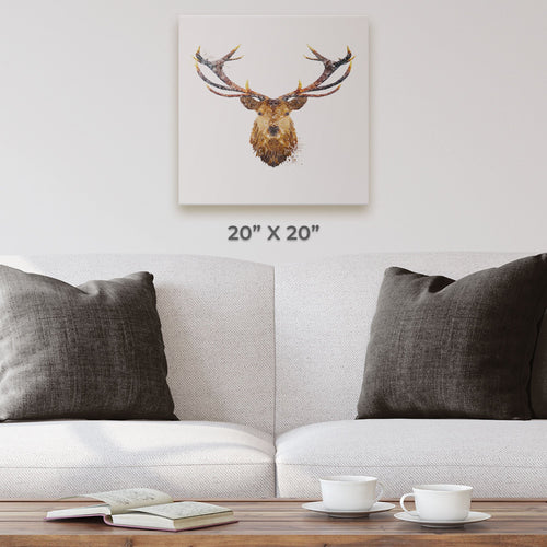 """The Stag"" Square Canvas Print"