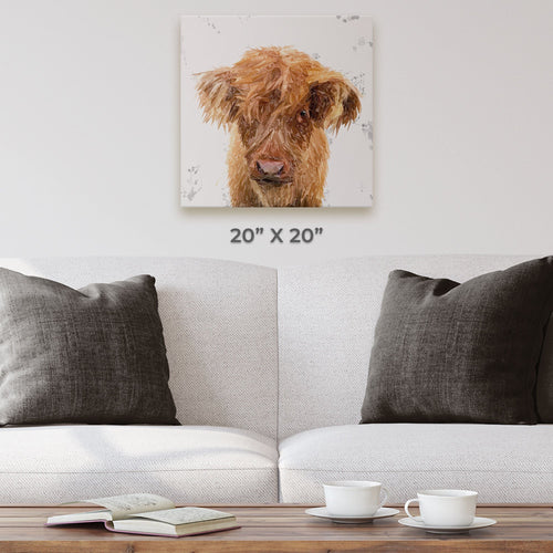 """Peeps"" The Highland Calf Square Canvas Print"