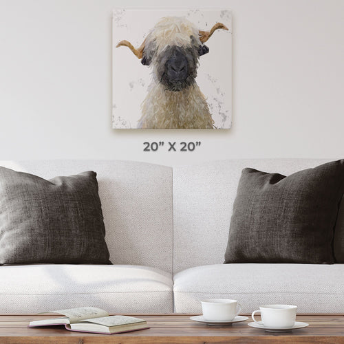"""Betty"" The Valais Blacknose Sheep (Grey Background) Square Canvas Print"