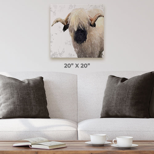 """Bertie"" The Valais Ram (Grey Background) Square Canvas Print"