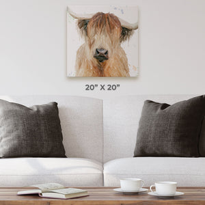 """Bernadette"" The Highland Cow Square Canvas Print - Andy Thomas Artworks"